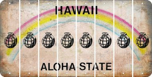 Hawaii HAND GRENADE Cut License Plate Strips (Set of 8) LPS-HI1-050