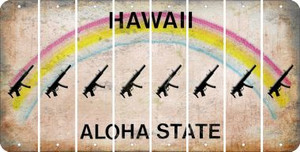 Hawaii SUBMACHINE GUN Cut License Plate Strips (Set of 8) LPS-HI1-055