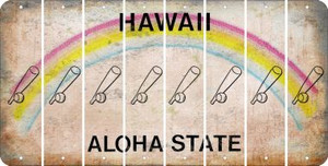 Hawaii BASEBALL WITH BAT Cut License Plate Strips (Set of 8) LPS-HI1-057
