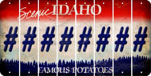 Idaho HASHTAG Cut License Plate Strips (Set of 8) LPS-ID1-043