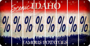 Idaho PERCENT SIGN Cut License Plate Strips (Set of 8) LPS-ID1-046
