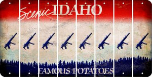 Idaho SUBMACHINE GUN Cut License Plate Strips (Set of 8) LPS-ID1-055