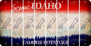 Idaho BASEBALL WITH BAT Cut License Plate Strips (Set of 8) LPS-ID1-057