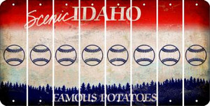 Idaho BASEBALL / SOFTBALL Cut License Plate Strips (Set of 8) LPS-ID1-063