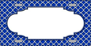 Blue White Quatrefoil Center Scallop Wholesale Metal Novelty License Plate LP-4299