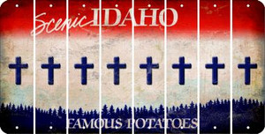 Idaho CROSS Cut License Plate Strips (Set of 8) LPS-ID1-083