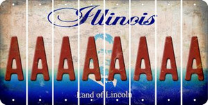 Illinois A Cut License Plate Strips (Set of 8) LPS-IL1-001