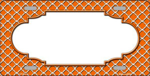 Orange White Quatrefoil Center Scallop Wholesale Metal Novelty License Plate LP-4301