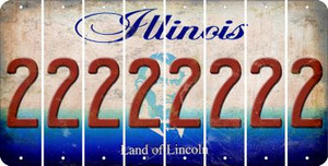Illinois 2 Cut License Plate Strips (Set of 8) LPS-IL1-029