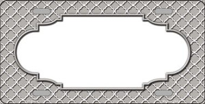 Grey White Quatrefoil Center Scallop Wholesale Metal Novelty License Plate LP-4303