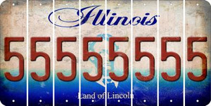 Illinois 5 Cut License Plate Strips (Set of 8) LPS-IL1-032