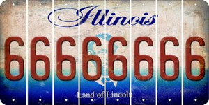Illinois 6 Cut License Plate Strips (Set of 8) LPS-IL1-033