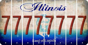 Illinois 7 Cut License Plate Strips (Set of 8) LPS-IL1-034