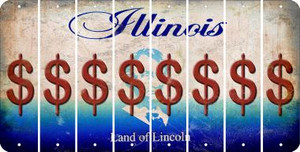 Illinois DOLLAR SIGN Cut License Plate Strips (Set of 8) LPS-IL1-040