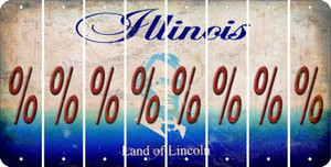 Illinois PERCENT SIGN Cut License Plate Strips (Set of 8) LPS-IL1-046