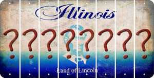 Illinois QUESTION MARK Cut License Plate Strips (Set of 8) LPS-IL1-047