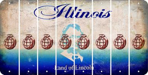 Illinois HAND GRENADE Cut License Plate Strips (Set of 8) LPS-IL1-050