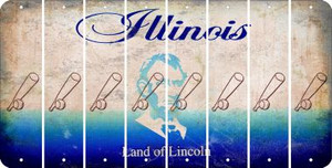 Illinois BASEBALL WITH BAT Cut License Plate Strips (Set of 8) LPS-IL1-057