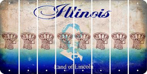 Illinois BASKETBALL HOOP Cut License Plate Strips (Set of 8) LPS-IL1-058