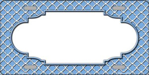 Light Blue White Quatrefoil Center Scallop Wholesale Metal Novelty License Plate LP-4306