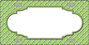 Lime Green White Quatrefoil Center Scallop Wholesale Metal Novelty License Plate LP-4307