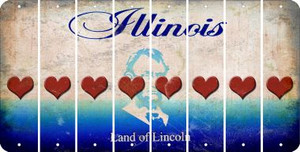 Illinois HEART Cut License Plate Strips (Set of 8) LPS-IL1-081
