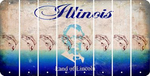 Illinois FISH Cut License Plate Strips (Set of 8) LPS-IL1-086