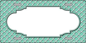 Mint White Quatrefoil Center Scallop Wholesale Metal Novelty License Plate LP-4310
