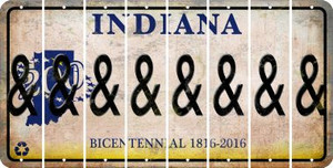Indiana AMPERSAND Cut License Plate Strips (Set of 8) LPS-IN1-049