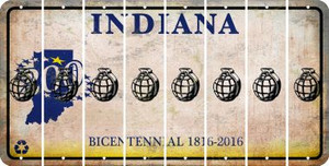Indiana HAND GRENADE Cut License Plate Strips (Set of 8) LPS-IN1-050