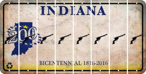 Indiana PISTOL Cut License Plate Strips (Set of 8) LPS-IN1-053