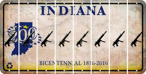 Indiana SUBMACHINE GUN Cut License Plate Strips (Set of 8) LPS-IN1-055