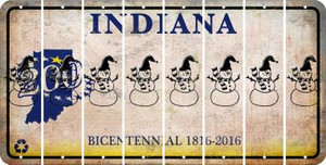 Indiana SNOWMAN Cut License Plate Strips (Set of 8) LPS-IN1-079