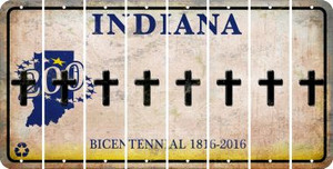 Indiana CROSS Cut License Plate Strips (Set of 8) LPS-IN1-083