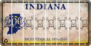 Indiana SKULL Cut License Plate Strips (Set of 8) LPS-IN1-092