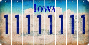 Iowa 1 Cut License Plate Strips (Set of 8) LPS-IA1-028