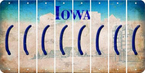 Iowa LEFT PARENTHESIS Cut License Plate Strips (Set of 8) LPS-IA1-045