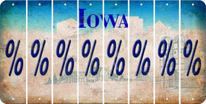 Iowa PERCENT SIGN Cut License Plate Strips (Set of 8) LPS-IA1-046