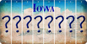 Iowa QUESTION MARK Cut License Plate Strips (Set of 8) LPS-IA1-047