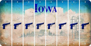 Iowa HANDGUN Cut License Plate Strips (Set of 8) LPS-IA1-051