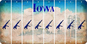 Iowa SUBMACHINE GUN Cut License Plate Strips (Set of 8) LPS-IA1-055