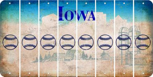 Iowa BASEBALL / SOFTBALL Cut License Plate Strips (Set of 8) LPS-IA1-063