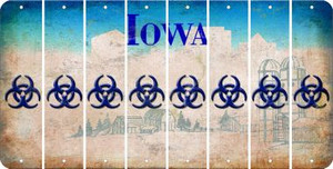 Iowa BIO HAZARD Cut License Plate Strips (Set of 8) LPS-IA1-084