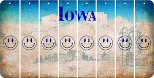 Iowa SMILEY FACE Cut License Plate Strips (Set of 8) LPS-IA1-089