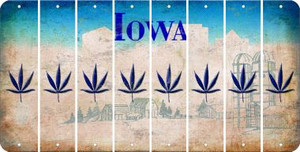 Iowa POT LEAF Cut License Plate Strips (Set of 8) LPS-IA1-090