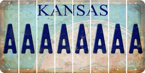Kansas A Cut License Plate Strips (Set of 8) LPS-KS1-001