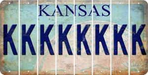 Kansas K Cut License Plate Strips (Set of 8) LPS-KS1-011