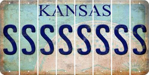 Kansas S Cut License Plate Strips (Set of 8) LPS-KS1-019