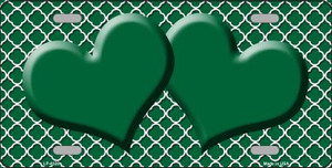 Green White Quatrefoil Green Center Hearts Wholesale Metal Novelty License Plate LP-4328