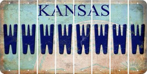 Kansas W Cut License Plate Strips (Set of 8) LPS-KS1-023